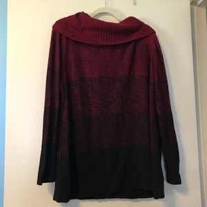 Cj banks red ombré cowl neck sweater size 3x